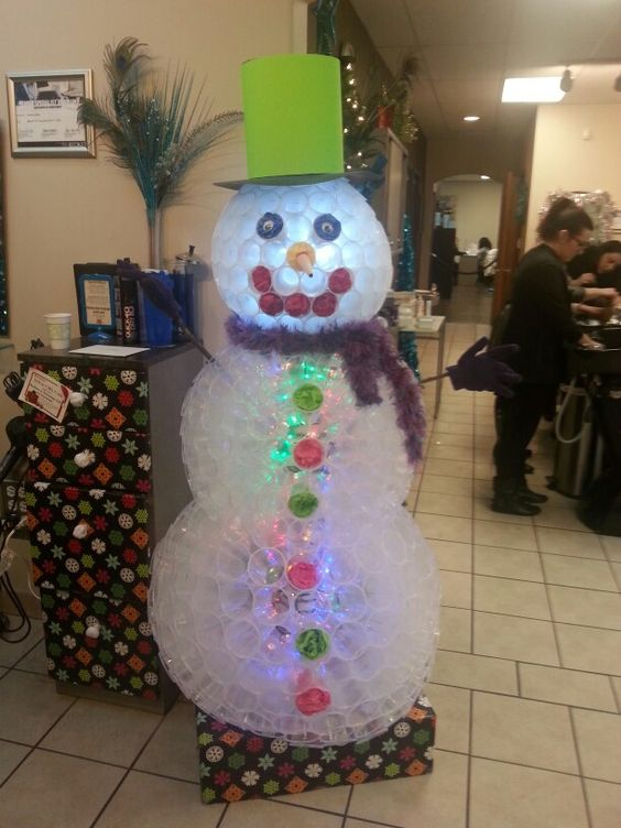 Snowman Made from Plasti Cups