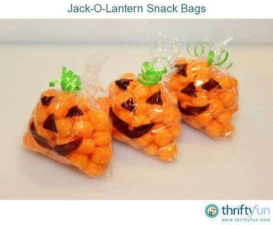 Jack O Lantern Snack Bags