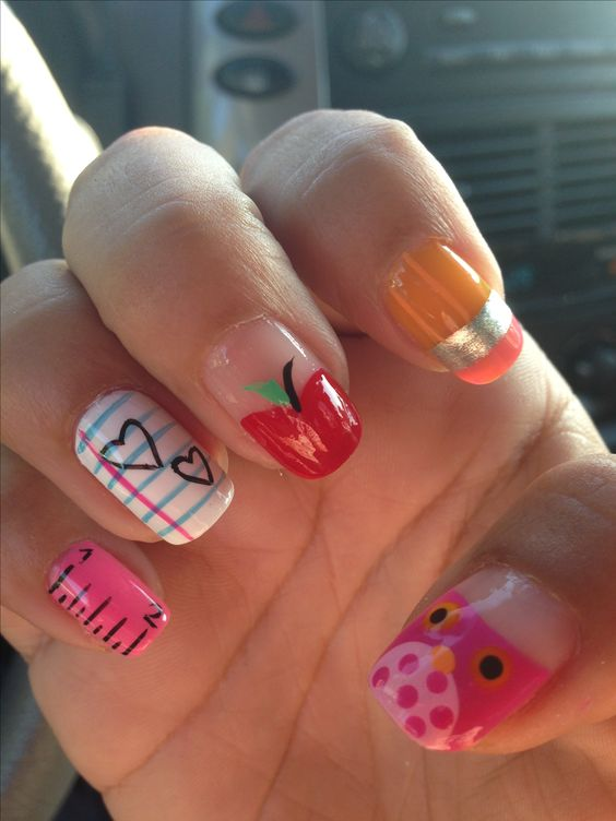 School Accessories Nail Art