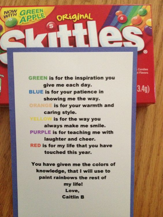 Poem for teacher using skittles #valentines