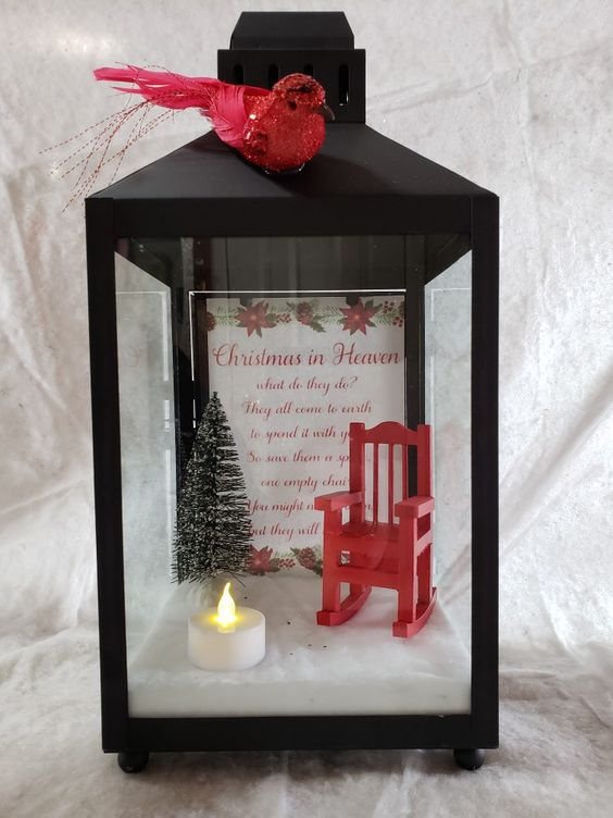 Christmas In Heaven Lantern with Red Chair