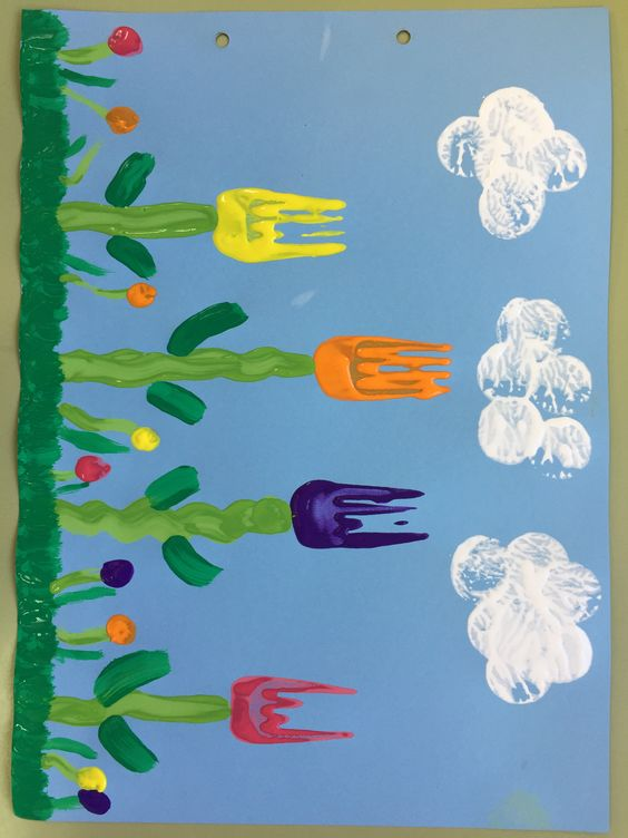 Fork Print Tulips on Blue Paper