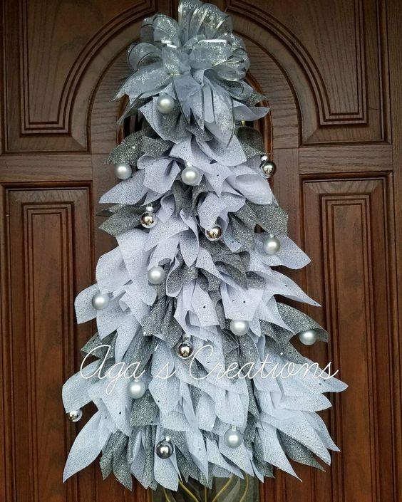 Silver & White Mesh Christmas Tree