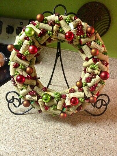 Wine Cork Christmas Wreath