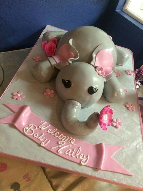 Pink and grey Elephant baby shower cake
