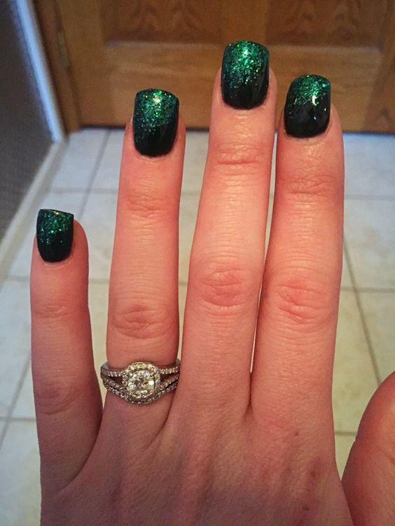 Black & Green Glitter