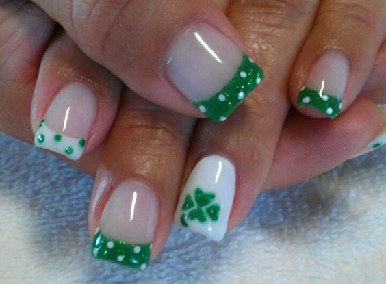 Green White Polka Dots
