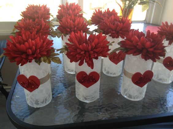 Red and Lace Centerpieces