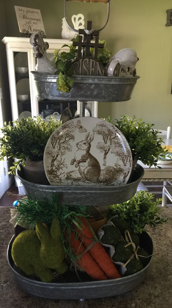 Spring decor tiered tray Easter decor