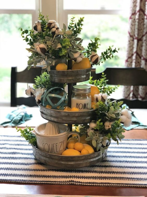 Spring decor tiered tray