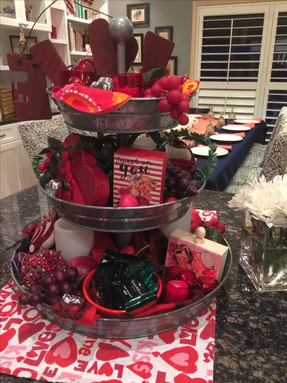 Valentine's Day three tiered centerpiece