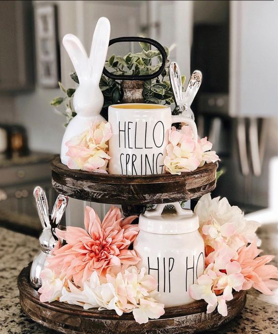 spring tiered centerpiece