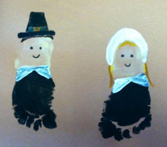 Thanksgiving Crafts for Kids to Make - Foot-Print Pilgrim Art