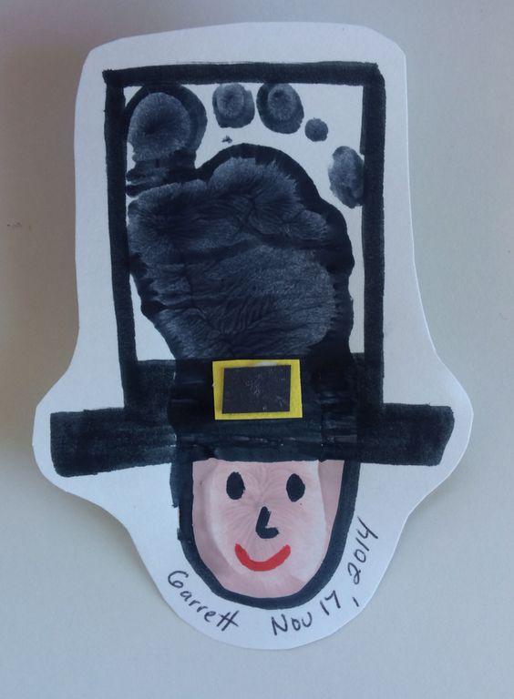 Thanksgiving Crafts for Kids to Make - Pilgrim footprint