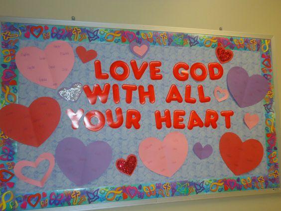 February, valentine, religious, bulletin board, preschool #bulletinboards