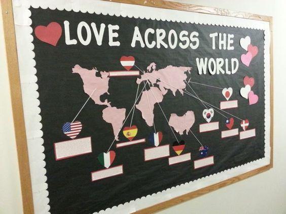 Love Across the World Bulletin Board #bulletinboards