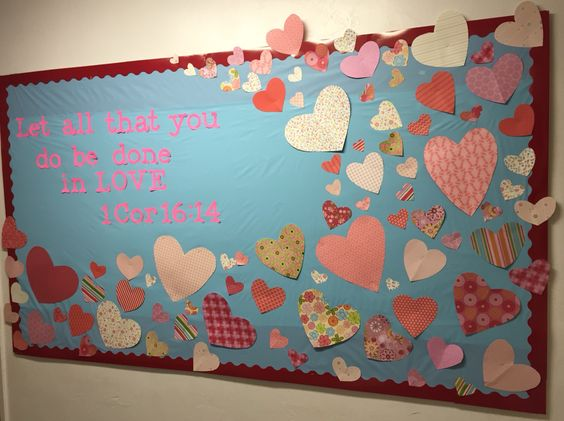 Valentine's Day Bulletin Board for Sunday School or church.