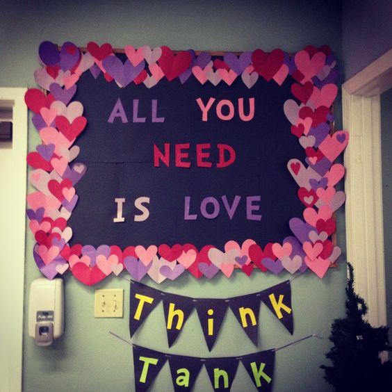 Valentine's Day Bulletin Board #bulletinboards