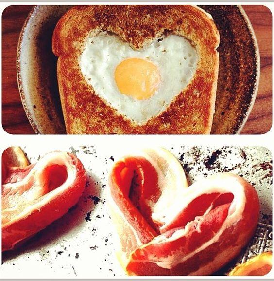 heart shaped breakfast